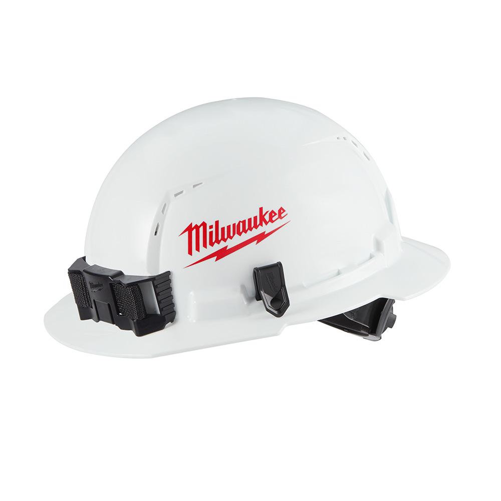 BOLT White Type 1 Class C Full Brim Vented Hard Hat Ratcheting Suspension